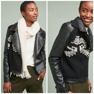 Ett:twa Vegan Leather Sweater Moto Jacket